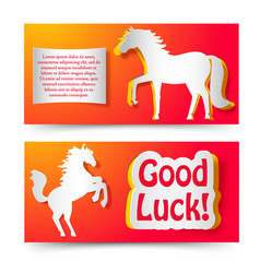good luck wishing new year paper banners vector image