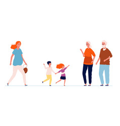 grandparents and grandchildren old people meeting vector image