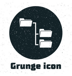 Grunge folder tree icon isolated on white vector