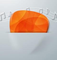 Guitar Pick and Music Notes on White Paper vector