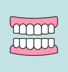 Gums with teeth or denture dental related icon vector