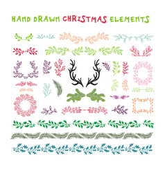 hand drawn set colorful wreaths ribbons vector image