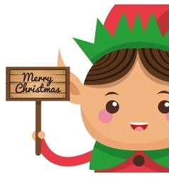 happy cute christmas elf holding sign icon vector image