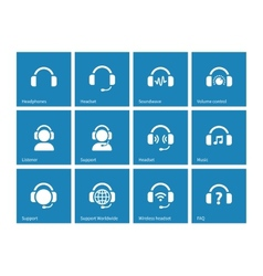 Headphone icons on blue background vector image vector image
