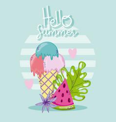 Hello summer card with cute cartoons vector