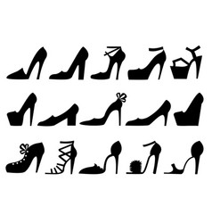 high heels shoes set women shoes black silhouette vector image