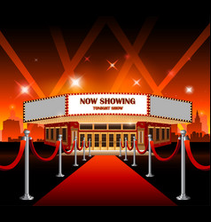 Hollywood movie red carpet movie theater vector