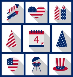 icons set usa flag color independence day 4th vector image