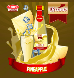 Juice pineapple ads with logo and label realistic vector