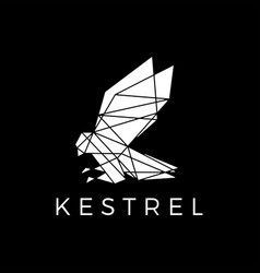 kestrel bird head geometric polygonal black logo vector image