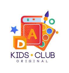 Kids club logo original colorful creative label vector