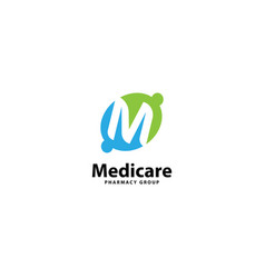Letter m for health care and medical logo design vector