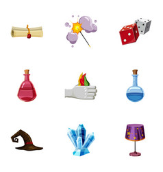 magic tricks icons set cartoon style vector image