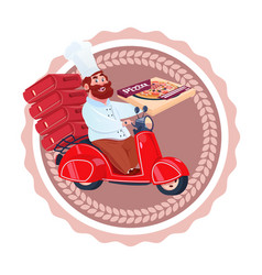 man cook deliver pizza riding retro scooter vector image