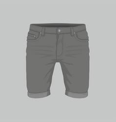 mens black denim shorts vector image