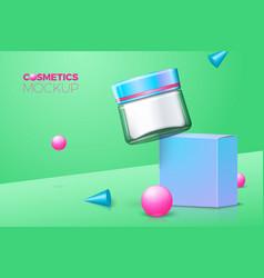 Moisturizing cream glass jar with paper box vector