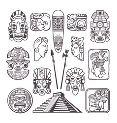 Monochrome pictures set of mayan culture symbols vector