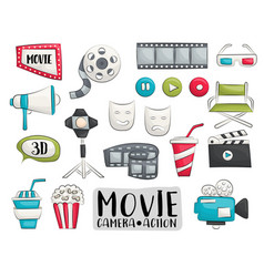 movie cinema icons set colorful hand drawn doodle vector image