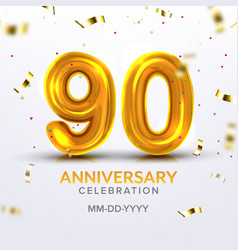 ninetieth anniversary celebration number vector image