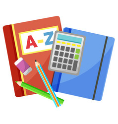 Office accessory notebook and calculator vector