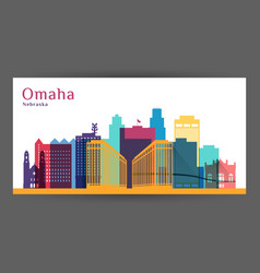 omaha city nebraska architecture silhouette vector image