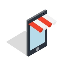 Online shopping from phone icon vector image