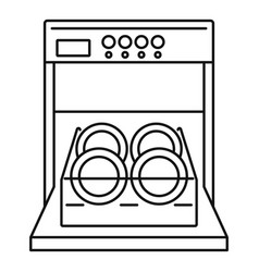 open dishwasher icon outline style vector image