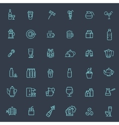 Outline web icon set - drink coffee tea alcohol vector