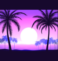 palm trees on pink gradient tropical sunrise vector image