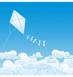 Paper kite up in clouds vector