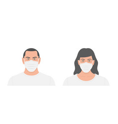 People in medical face mask vector