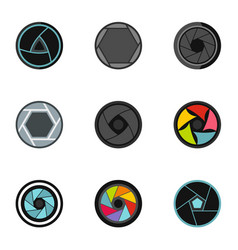 photography icons set flat style vector image
