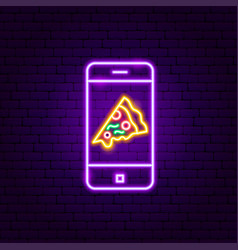 pizza mobile neon sign vector image