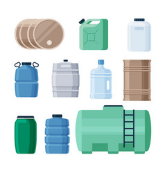plastic and iron containers liquid set production vector image