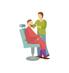 Procedure for men in barber shop cartoon banner vector
