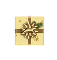 realistic gift box with golden bow vector image