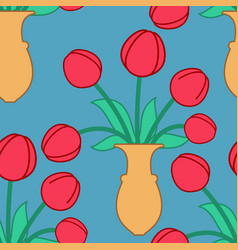 red tulip in vase seamless pattern beautiful vector image