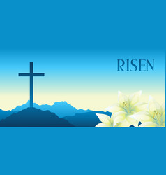 Risen easter greeting card with vector