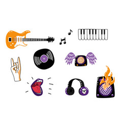 Rock music attributes symbols icon set vector