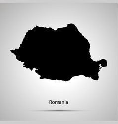 Romania country map simple black silhouette on vector