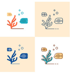 sea coral and fish icon set in flat and line style vector image