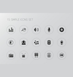 set of 15 editable sound icons includes symbols vector image