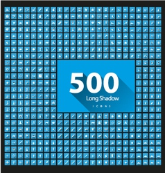 Set of 500 icons long shadow vector