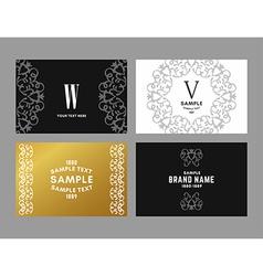 Set of four elegant monochrome black gold vector