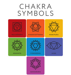 Set of seven chakra symbols with names vector