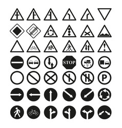 Set of the main road of signs icons vector
