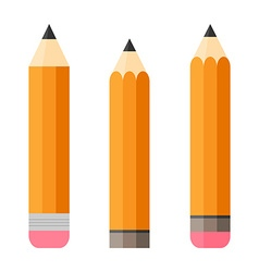 Set of three pencils Pencil with eraser Isolated vector image