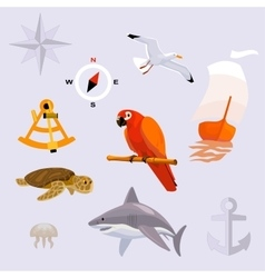 Set of tropic sea travel icons vector