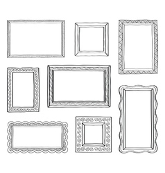 set vintage photo frames hand drawn vector image