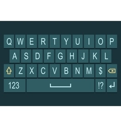 Smartphone keyboard dark with alphabet vector image
